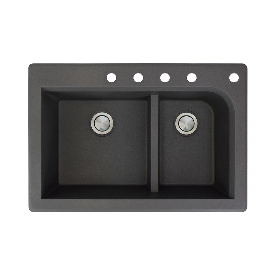 Transolid Radius 22-in x 33-in Black Double-Basin Granite Drop-In 5-Hole Residential Kitchen Sink