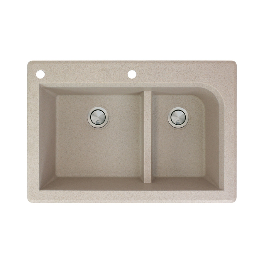 Transolid Radius 22-in x 33-in Cafe Latte Double-Basin Granite Drop-in 2-Hole Residential Kitchen Sink