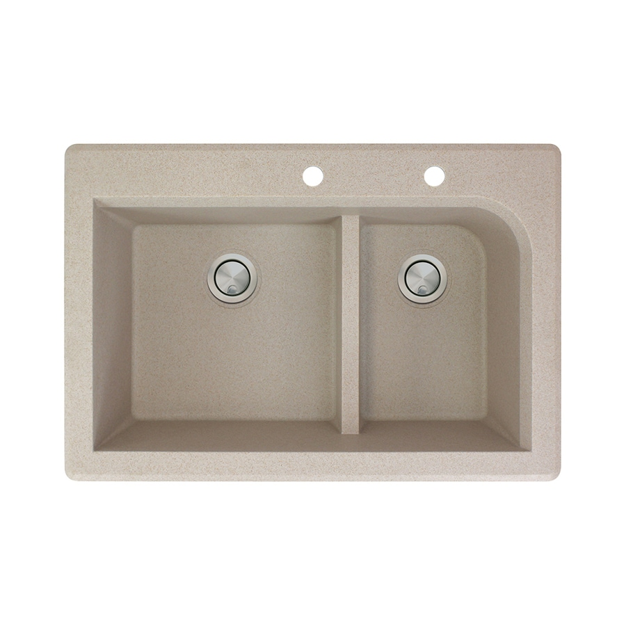Transolid Radius 22-in x 33-in Cafe Latte Single-Basin-Basin Granite Drop-in 2-Hole Residential Kitchen Sink