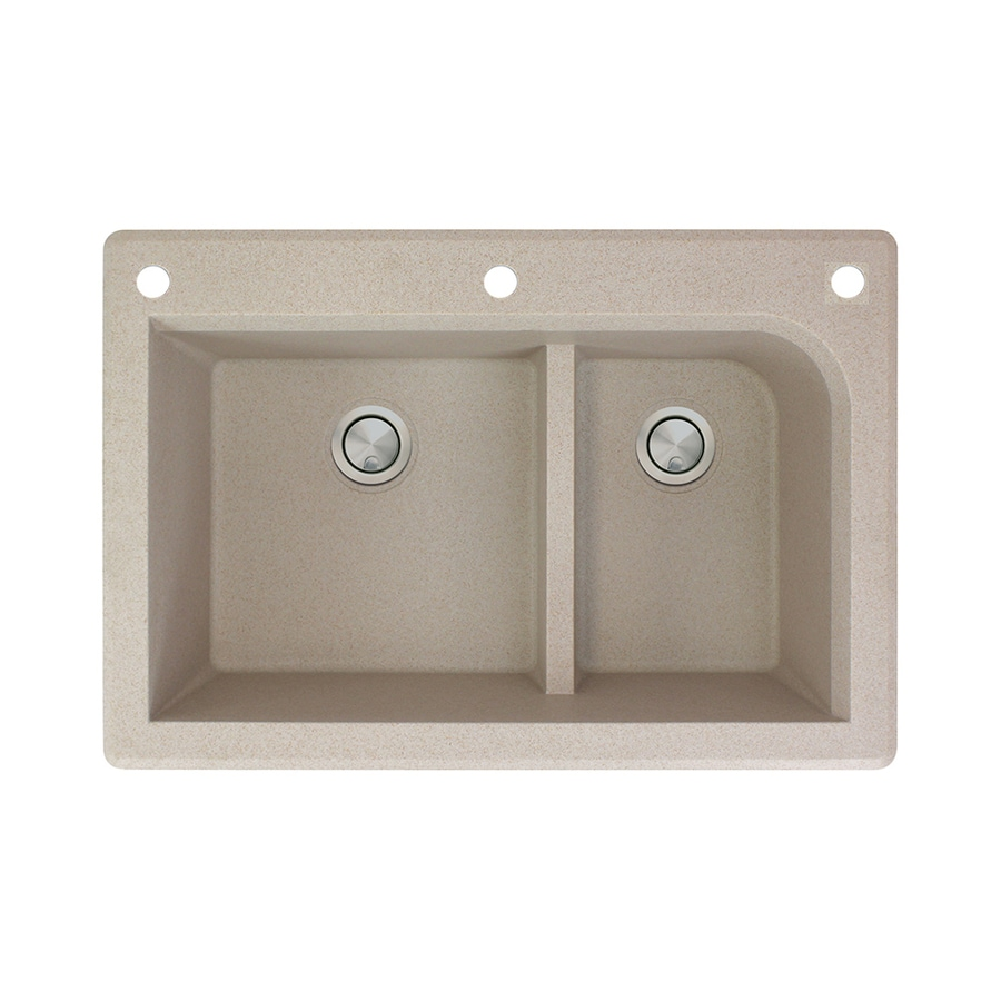 Transolid Radius 22-in x 33-in Cafe Latte Single-Basin-Basin Granite Drop-in 3-Hole Residential Kitchen Sink