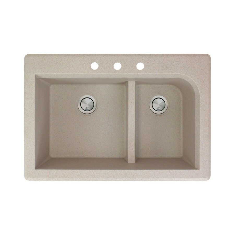 Transolid Radius 22-in x 33-in Cafe Latte Double-Basin Granite Drop-In 3-Hole Residential Kitchen Sink