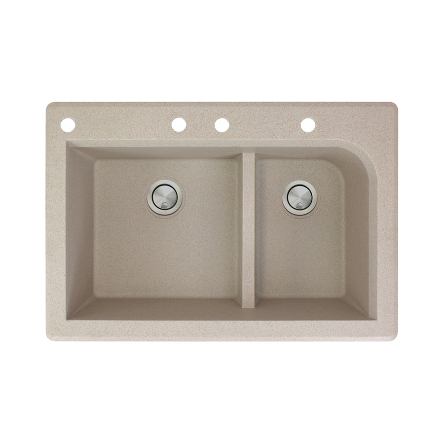 Transolid Radius 22-in x 33-in Cafe Latte Single-Basin-Basin Granite Drop-in 4-Hole Residential Kitchen Sink