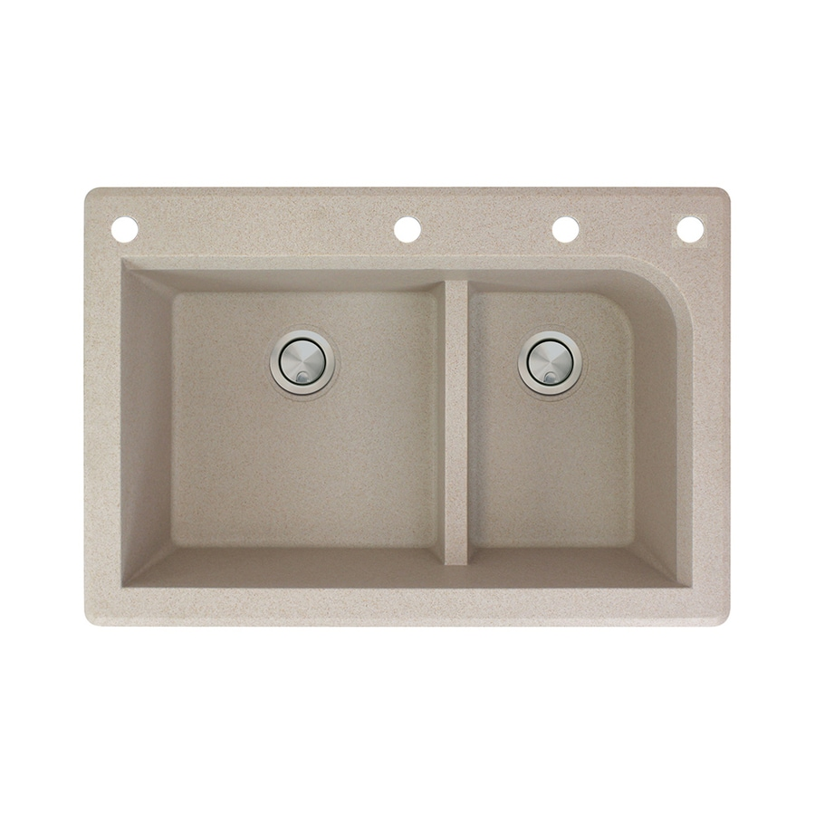 Transolid Radius 22-in x 33-in Cafe latte Double-Basin Granite Drop-In 4-Hole Residential Kitchen Sink