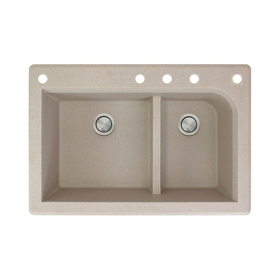 Transolid Radius 22-in x 33-in Cafe Latte Double-Basin Granite Drop-In 5-Hole Residential Kitchen Sink