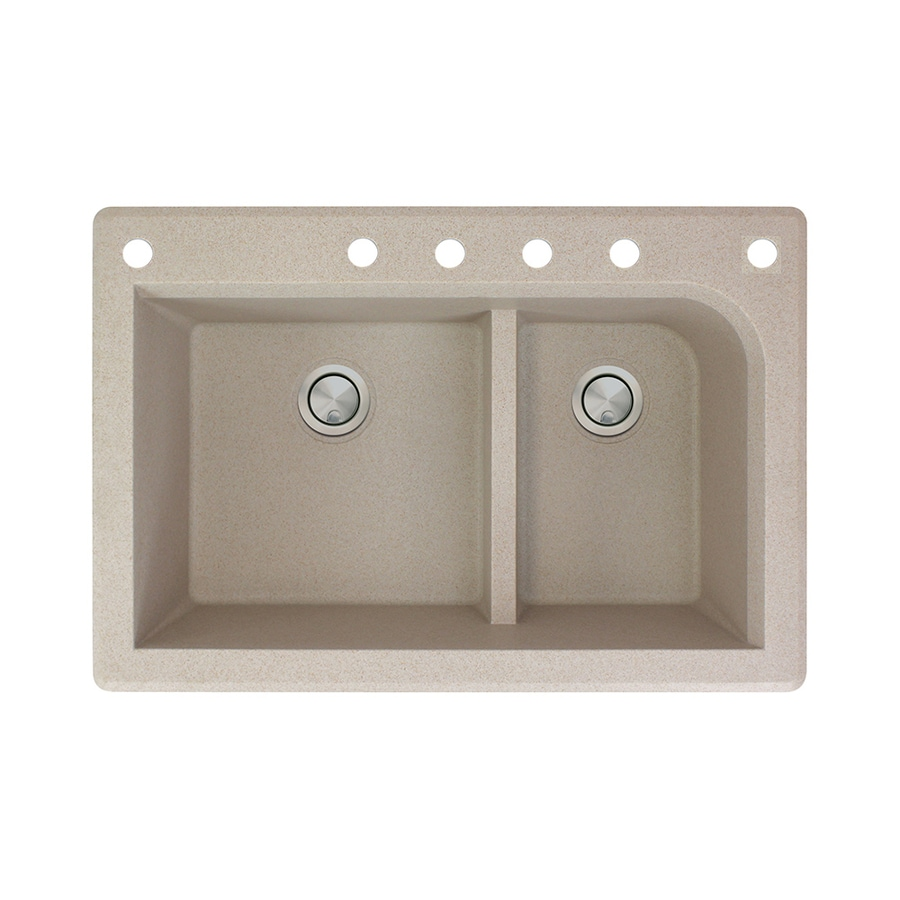 Transolid Radius 22-in x 33-in Cafe Latte Double-Basin Granite Drop-in 6-Hole Residential Kitchen Sink