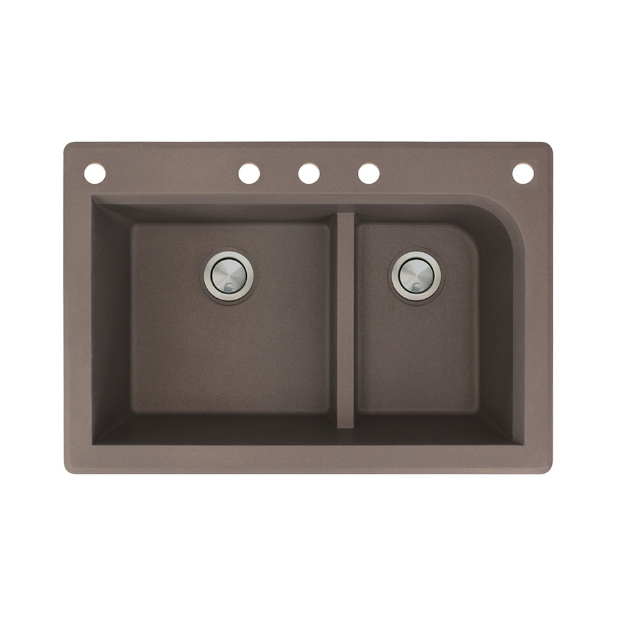 Transolid Radius 22-in x 33-in Espresso Single-Basin-Basin Granite Drop-in 5-Hole Residential Kitchen Sink