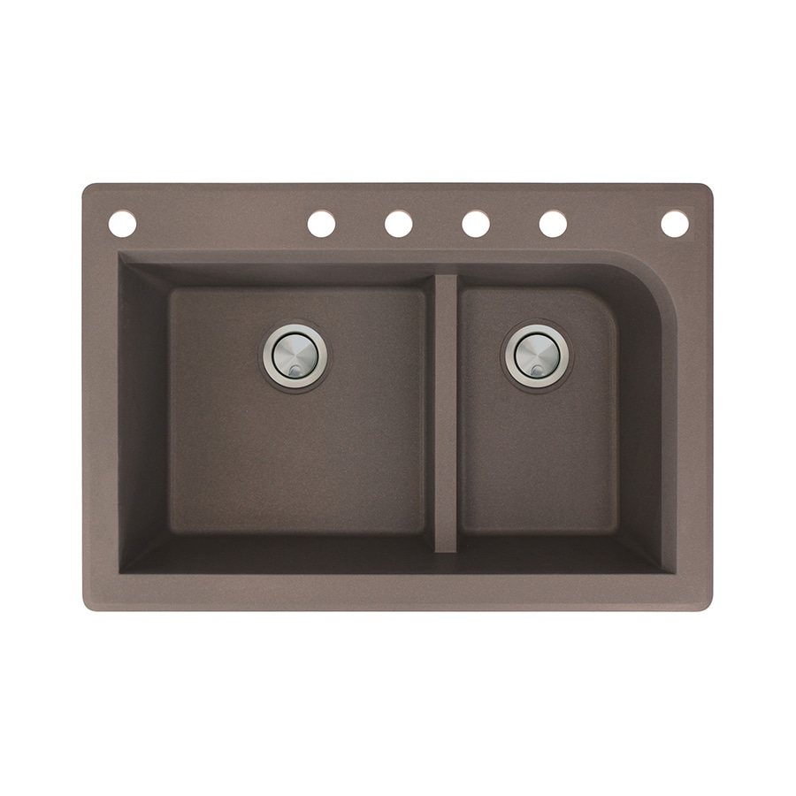 Transolid Radius 22-in x 33-in Espresso Double-Basin Granite Drop-in 6-Hole Residential Kitchen Sink