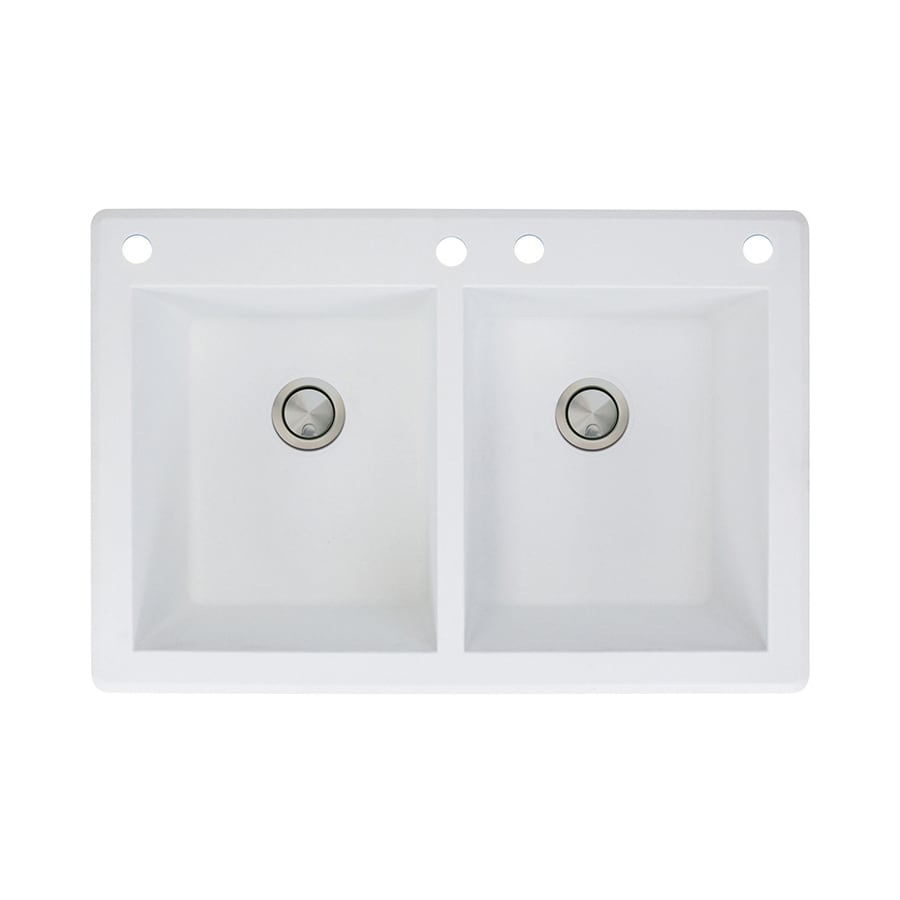 Transolid Radius 22-in x 33-in White Double-Basin Granite Drop-In 4-Hole Residential Kitchen Sink