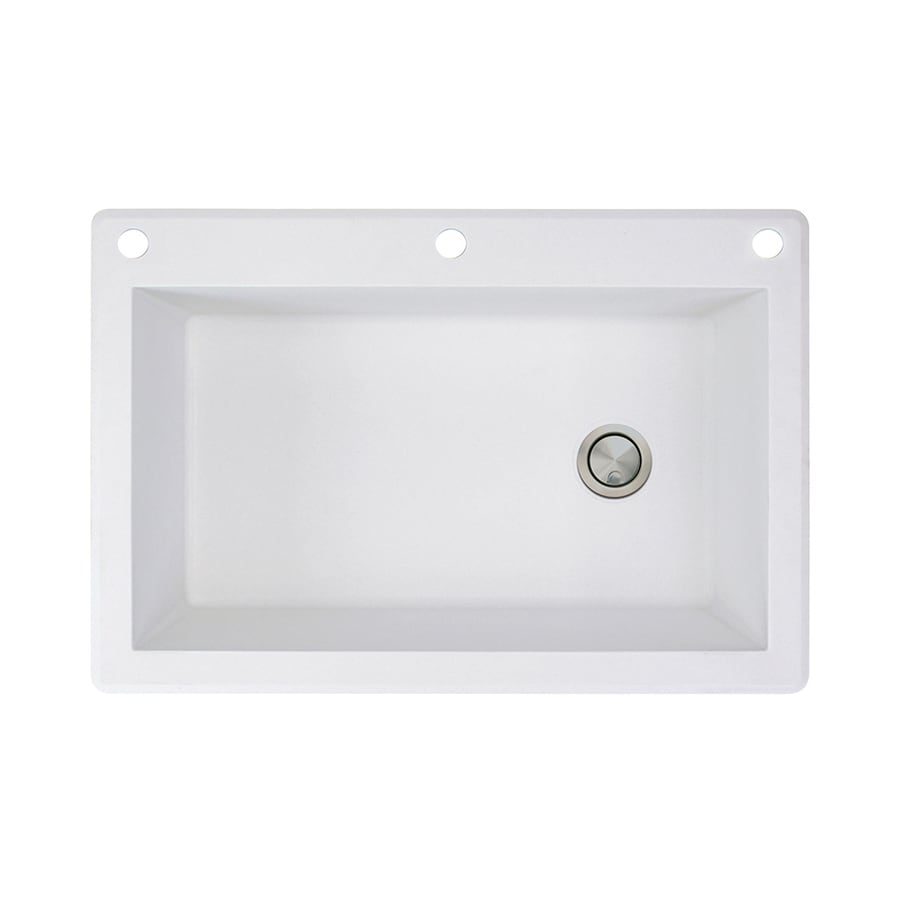 Transolid Radius 22-in x 33-in White Single-Basin Granite Drop-in 3-Hole Residential Kitchen Sink