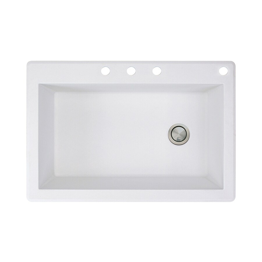 Transolid Radius 22-in x 33-in White Single-Basin-Basin Granite Drop-in 4-Hole Residential Kitchen Sink
