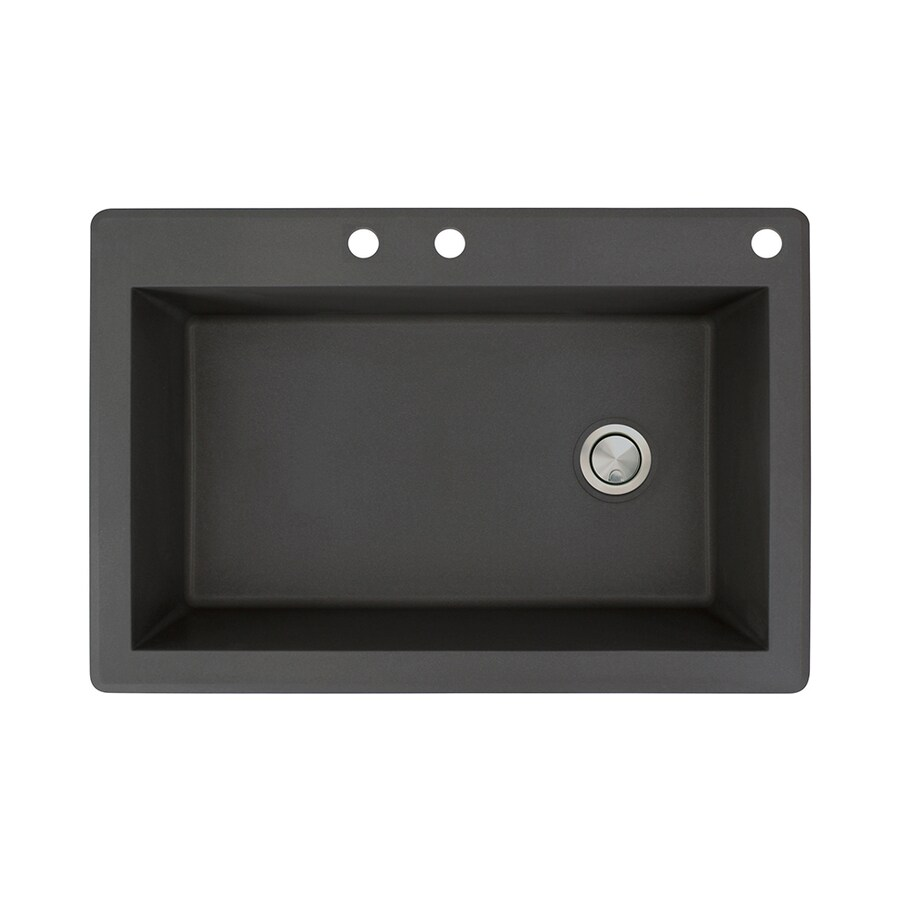 Transolid Radius 22-in x 33-in Black Single-Basin Granite Drop-In 3-Hole Residential Kitchen Sink