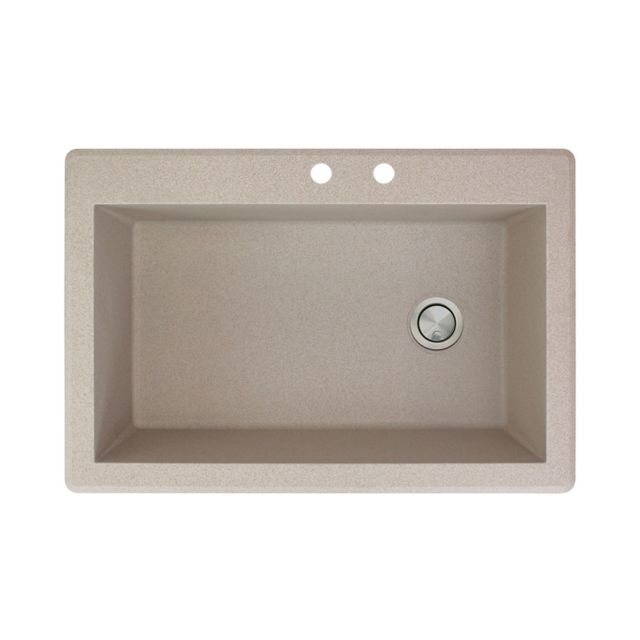 Transolid Radius 22-in x 33-in Cafe Latte Single-Basin Granite Drop-in 2-Hole Residential Kitchen Sink