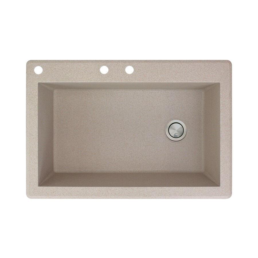 Transolid Radius 22-in x 33-in Cafe Latte Single-Basin Granite Drop-in 3-Hole Residential Kitchen Sink