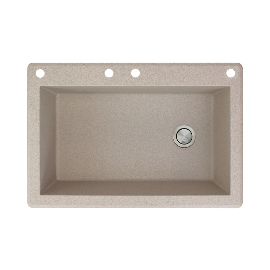 Transolid Radius 22-in x 33-in Cafe Latte Single-Basin Granite Drop-in 4-Hole Residential Kitchen Sink