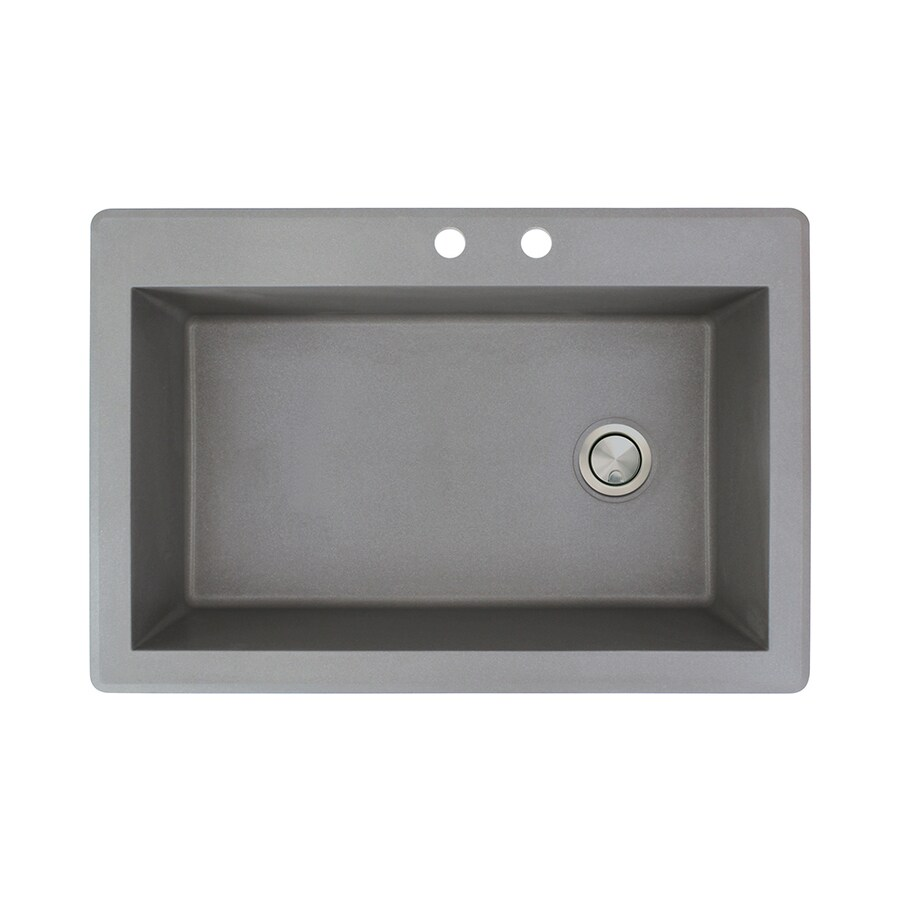 Transolid Radius 22-in x 33-in Grey Single-Basin Granite Drop-in 2-Hole Residential Kitchen Sink