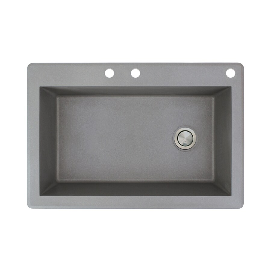 Transolid Radius 22-in x 33-in Grey Single-Basin Granite Drop-in 3-Hole Residential Kitchen Sink