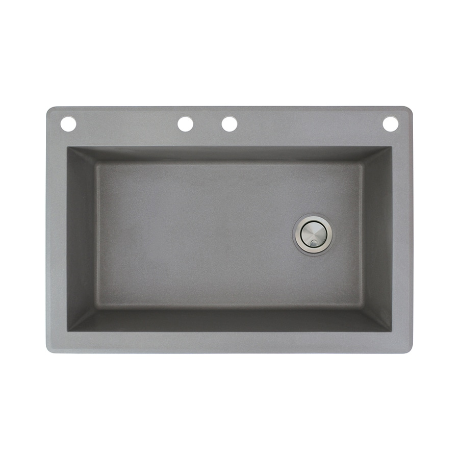 Transolid Radius 22-in x 33-in Grey Single-Basin Granite Drop-In 4-Hole Residential Kitchen Sink