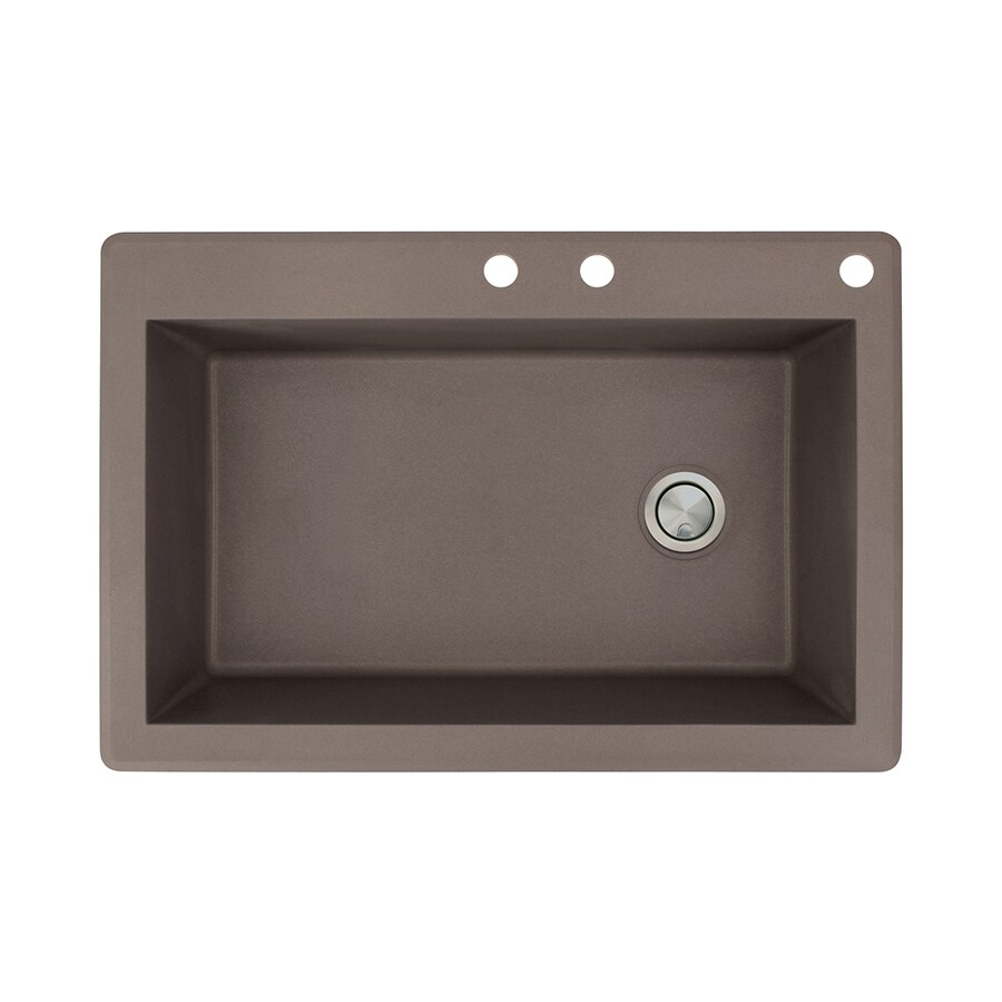 Transolid Radius 22-in x 33-in Espresso Single-Basin Granite Drop-In 3-Hole Residential Kitchen Sink