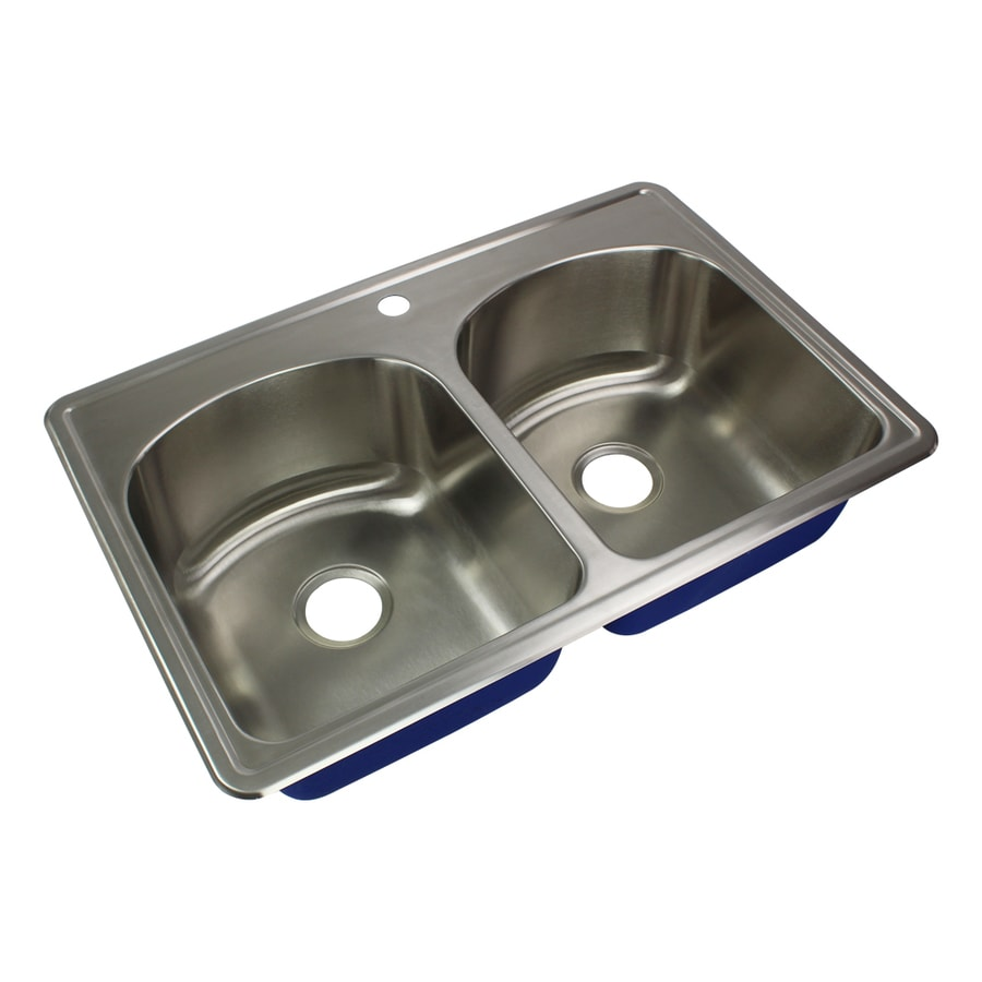 Transolid Meridian Drop In 33 In X 22 In Brushed Stainless Steel Double Equal Bowl 1 Hole Kitchen Sink In The Kitchen Sinks Department At Lowes Com