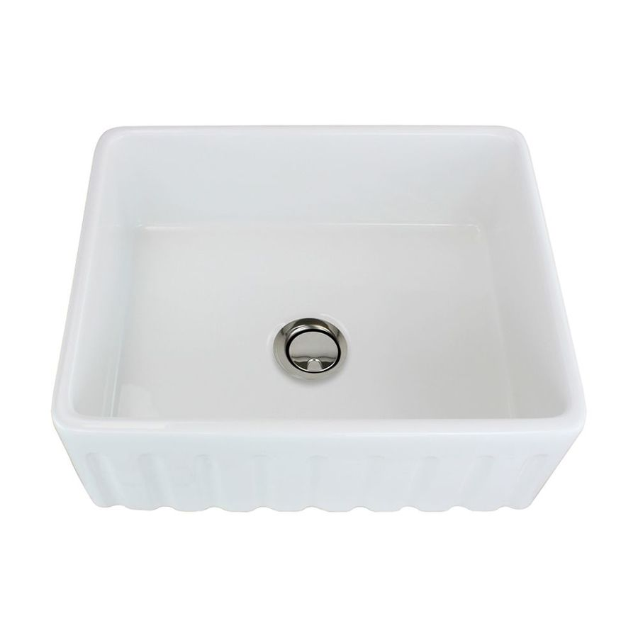 Transolid Logan 18.7-in x 23.5-in White Single-Basin Fireclay Apron Front/Farmhouse Residential Kitchen Sink