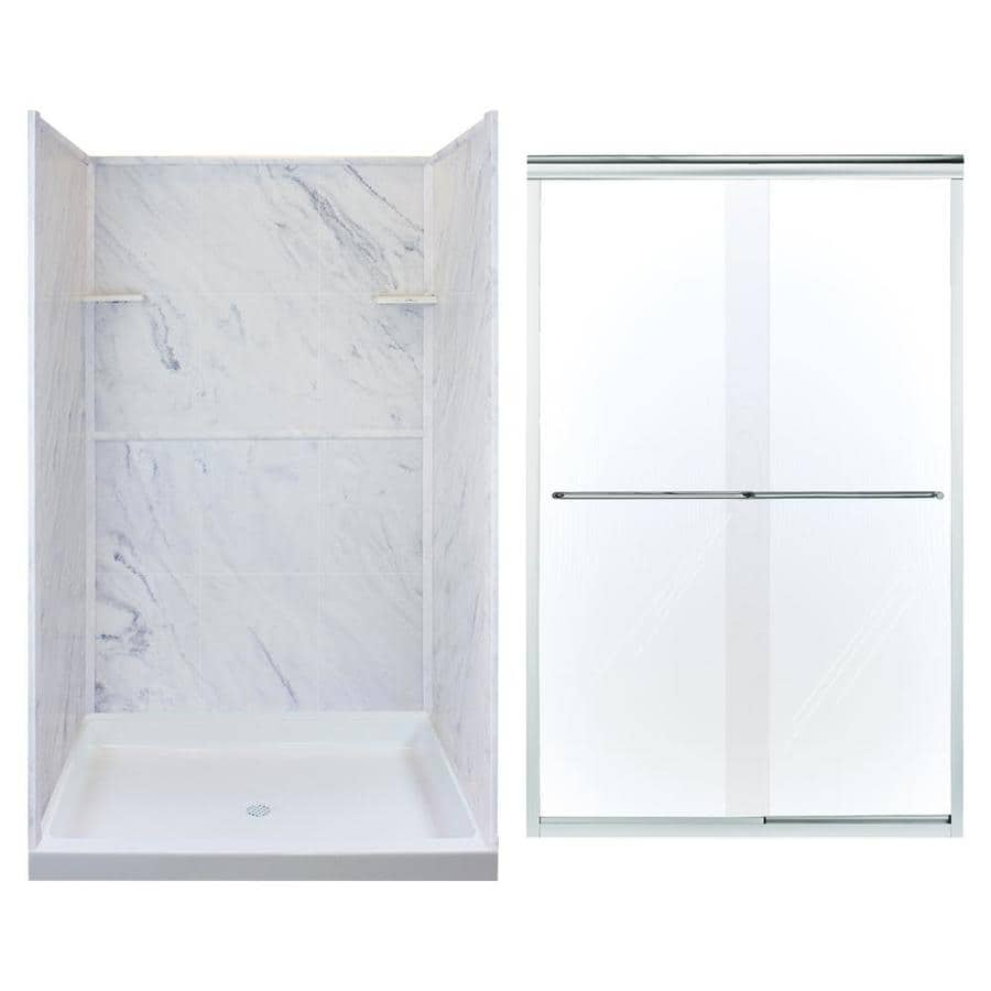 Transolid White Carrara 5 Piece Alcove Shower Kit Common