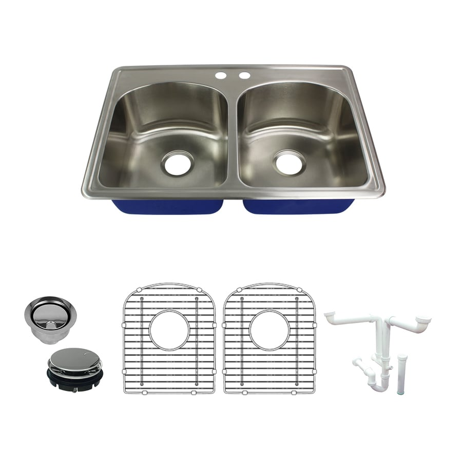 Transolid Meridian Drop In 33 In X 22 In Brushed Stainless Steel Double Equal Bowl 2 Hole Kitchen Sink In The Kitchen Sinks Department At Lowes Com