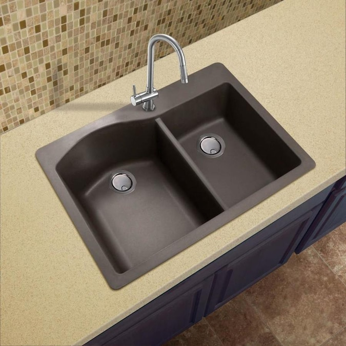 Transolid Aversa 33 In X 22 In Espresso Double Offset Bowl Drop In 1 Hole Residential Kitchen Sink All In One Kit In The Kitchen Sinks Department At Lowes Com