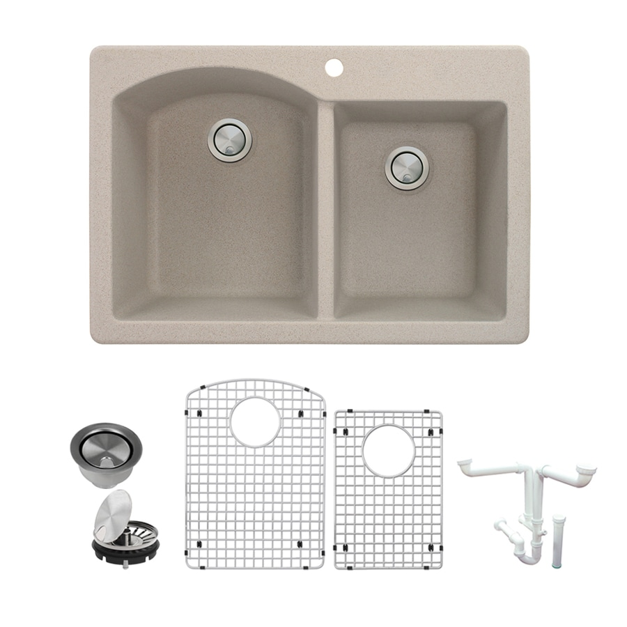 Shop Transolid Aversa 33-in x 22-in Cafe Latte Double-Basin Granite ...