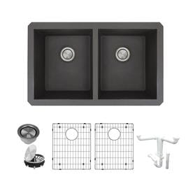 Transolid Radius 31 75 In X 19 125 Black Double Basin Undermount Residential Kitchen