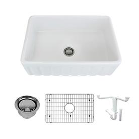 Transolid Covington 30u0022 Farmhouse Kitchen Sink Kit with Grid and Strainer