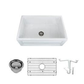 """Transolid Logan 30"""" Farmhouse Kitchen Sink Kit with Grid and Strainer"""