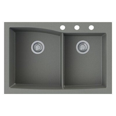 Outstanding Transolid Genova 33 In X 22 In Grey Double Basin Drop In Or Beutiful Home Inspiration Cosmmahrainfo