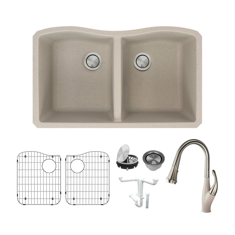 Shop Transolid Aversa 31.9375-in x 19.125-in Cafe Latte Double-Basin ...