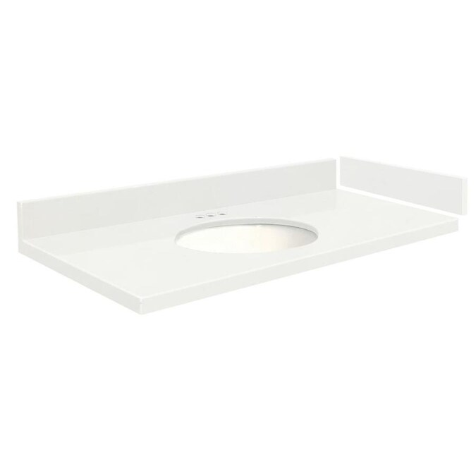 Transolid 33 In Natural White Quartz Single Sink Bathroom Vanity Top In The Bathroom Vanity Tops Department At Lowes Com