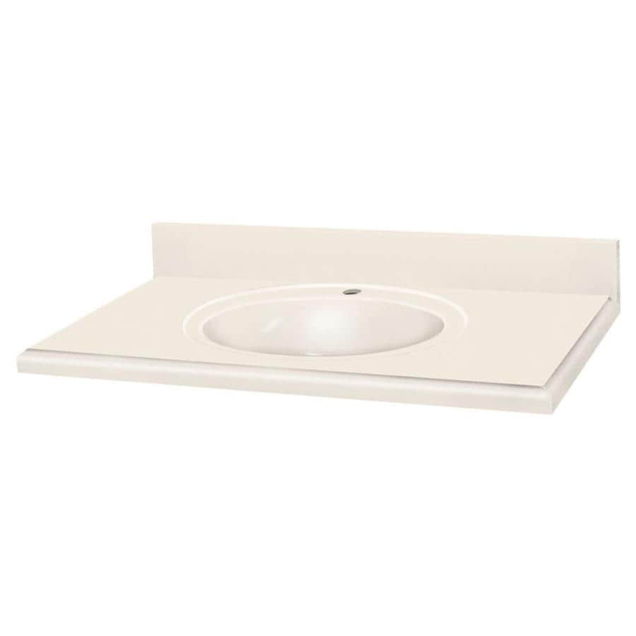 Solid Surface Bathroom Sink: Transolid Decor Cream Solid Surface Integral Single Sink