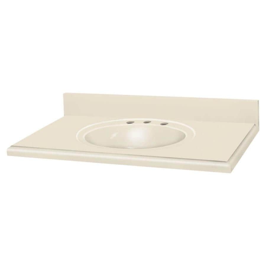 Transolid Decor Buff Solid Surface Integral Single Sink Bathroom Vanity Top (Common: 37-in x 22-in; Actual: 37-in x 22-in)