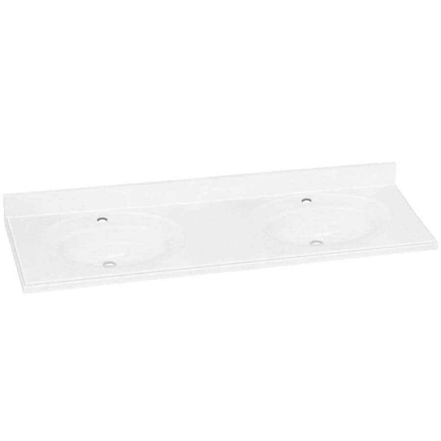 Transolid Decor White Solid Surface Integral Double Sink Bathroom Vanity Top (Common: 61-in x 22-in; Actual: 61-in x 22-in)
