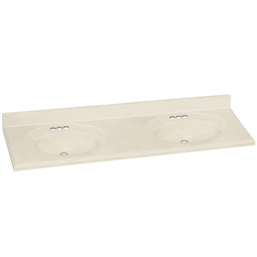 Double Bathroom Vanity Tops Solid Surface : Transolid decor biscuit solid surface integral double sink