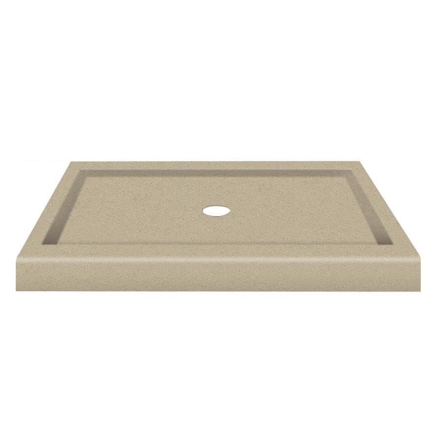Transolid Decor Matrix Sand Solid Surface Shower Base (Common: 32-in W x 48-in L; Actual: 32-in W x 48-in L) with Center Drain