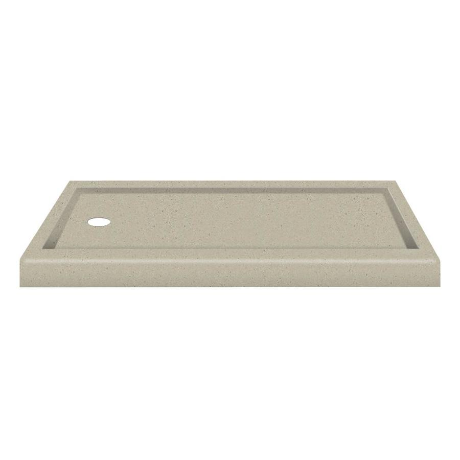 Transolid Decor Peppered Sage Solid Surface Shower Base (Common: 32-in W x 60-in L; Actual: 32-in W x 60-in L) with Left Drain