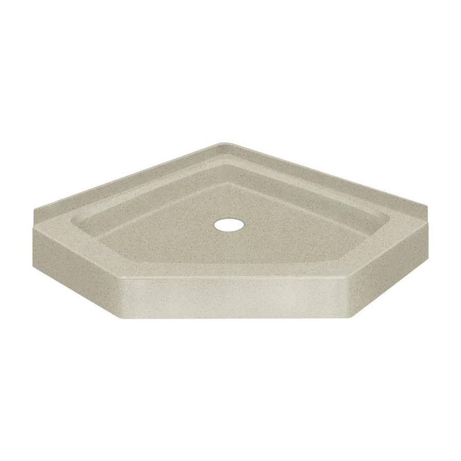 Transolid Decor 38-in L x 38-in W Green Solid Surface Neo-angle Corner Shower Base