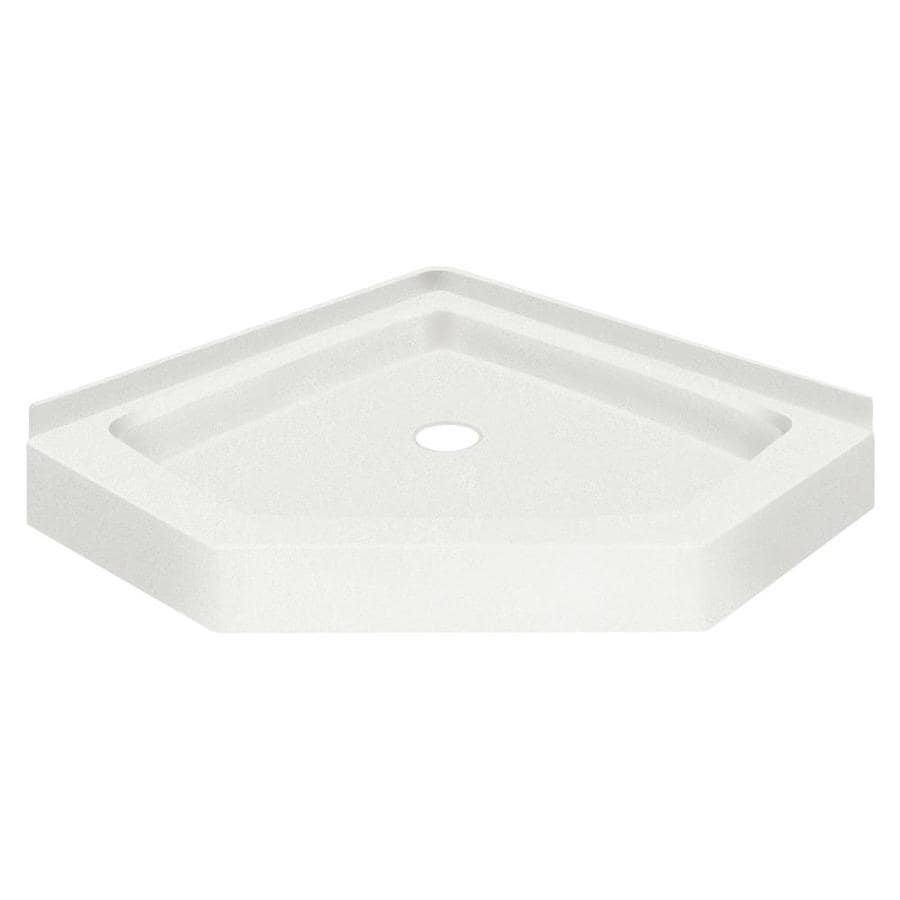 Transolid Decor 42-in L x 42-in W Off-white Solid Surface Neo-angle Corner Shower Base