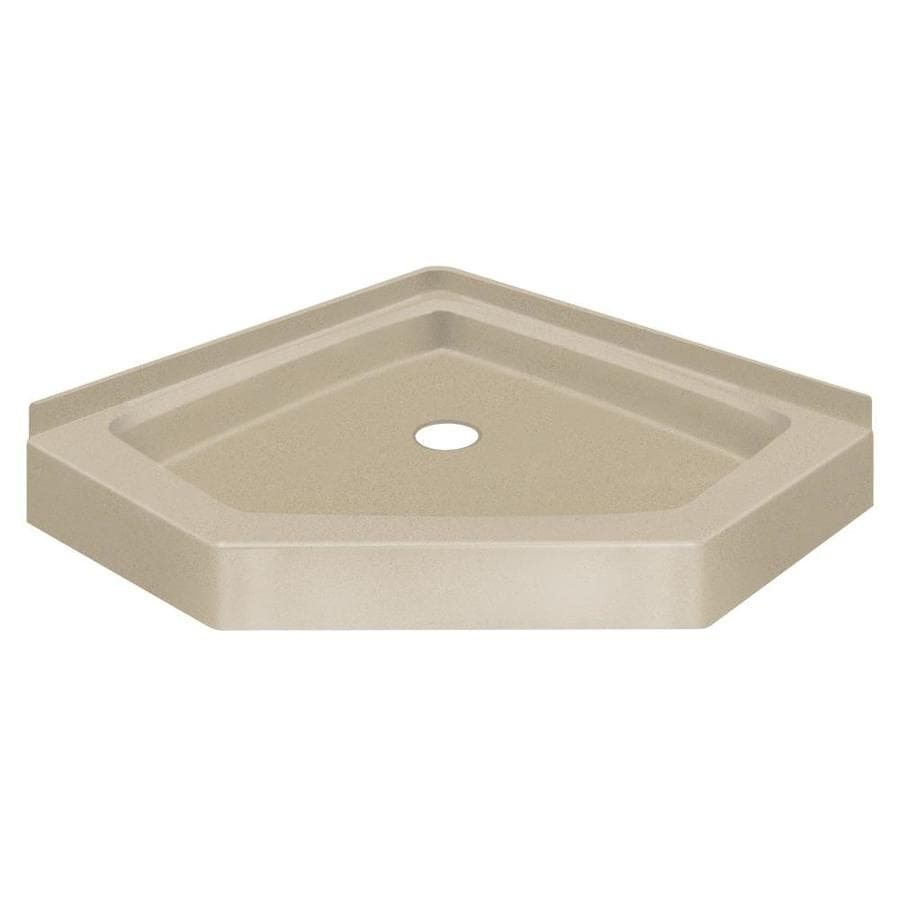 Transolid Decor 42-in L x 42-in W Brown Solid Surface Neo-Angle Corner Shower Base