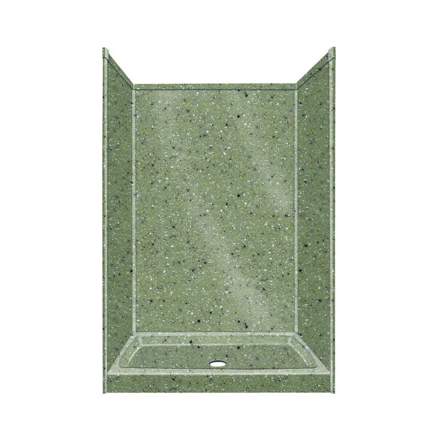 Transolid Decor Peppered Sage Shower Wall Surround Side And Back Wall Kit (Common: 32-in x 48-in; Actual: 96-in x 32-in x 48-in)