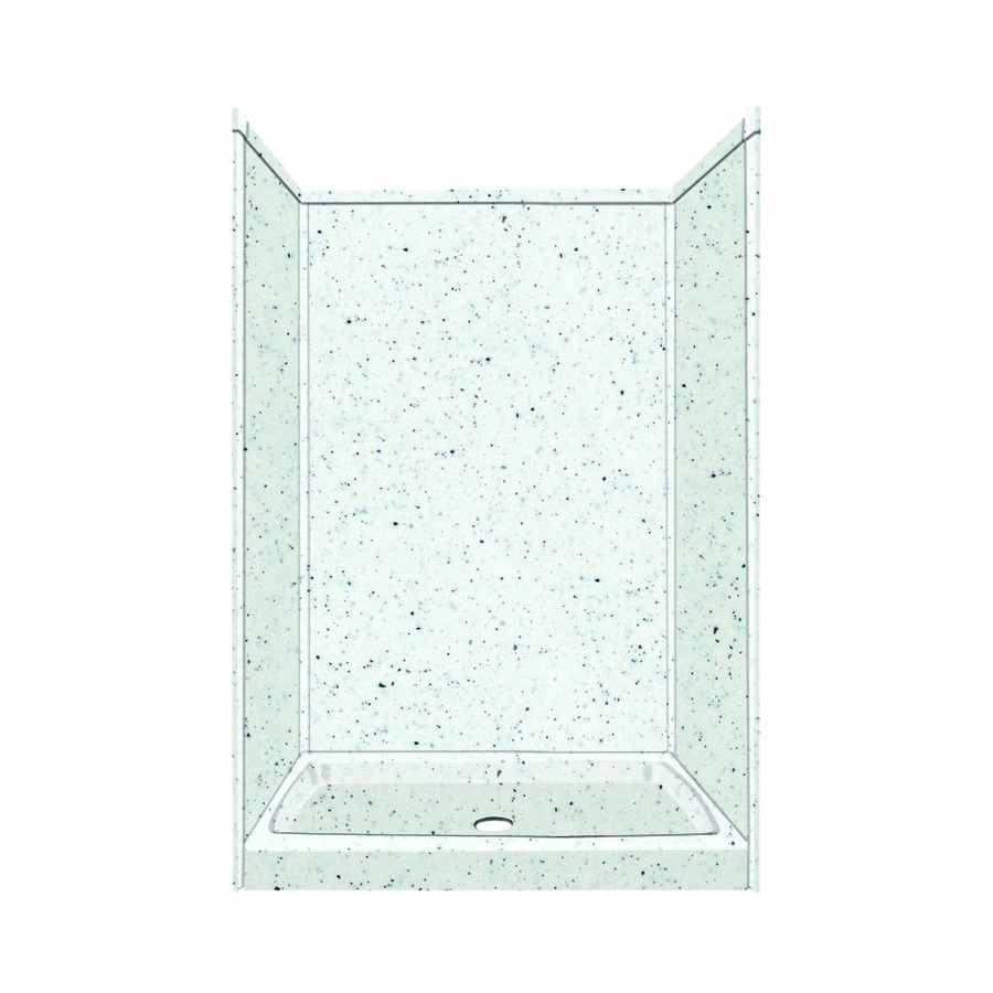 Transolid Decor Matrix White/Speckled White Compostie Wall and Floor 5-Piece Alcove Shower Kit (Common: 32-in x 48-in; Actual: 72-in x 32-in x 48-in)