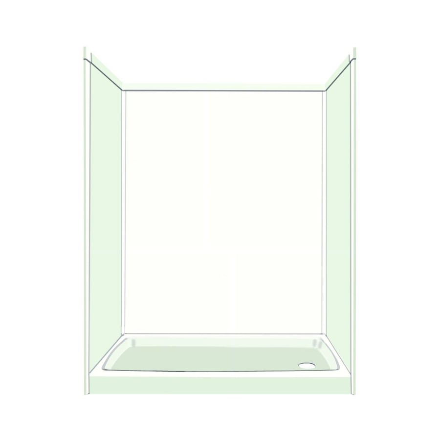 Transolid Decor White/Snow Compostie Wall and Floor 5-Piece Alcove Shower Kit (Common: 32-in x 60-in; Actual: 72-in x 32-in x 60-in)