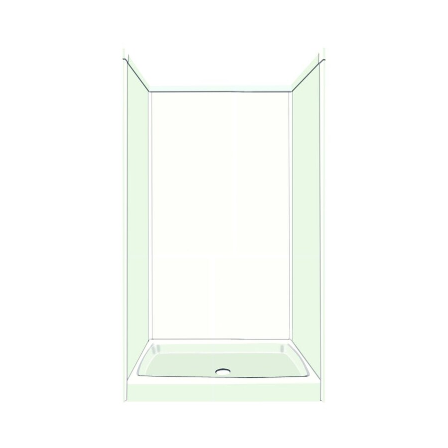Transolid Decor White/Snow Compostie Wall and Floor 5-Piece Alcove Shower Kit (Common: 36-in x 36-in; Actual: 96-in x 36-in x 36-in)