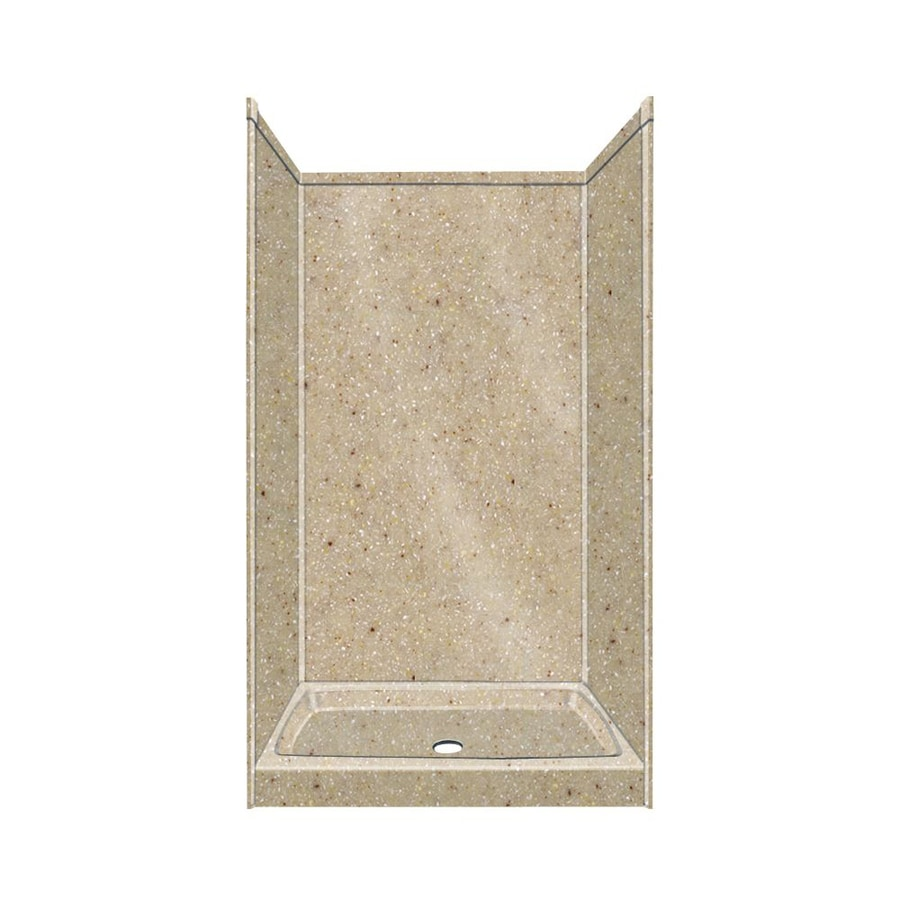 Transolid Decor Decor Sand Castle Compostie Wall and Floor 5-Piece Alcove Shower Kit (Common: 36-in x 36-in; Actual: 96-in x 36-in x 36-in)
