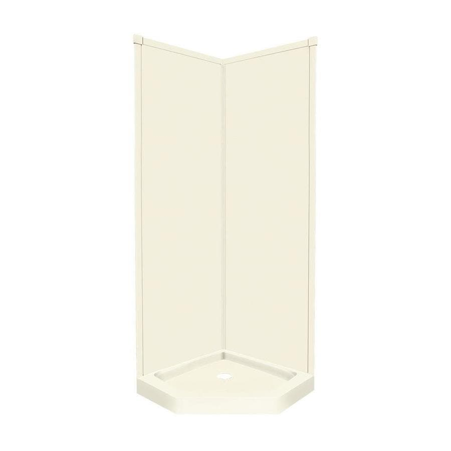 Transolid Decor Biscuit Wall Fiberglass/Plastic Composite Floor Neo-angle 3-Piece Corner Shower Kit (Actual: 96-in x 38-in x 38-in)
