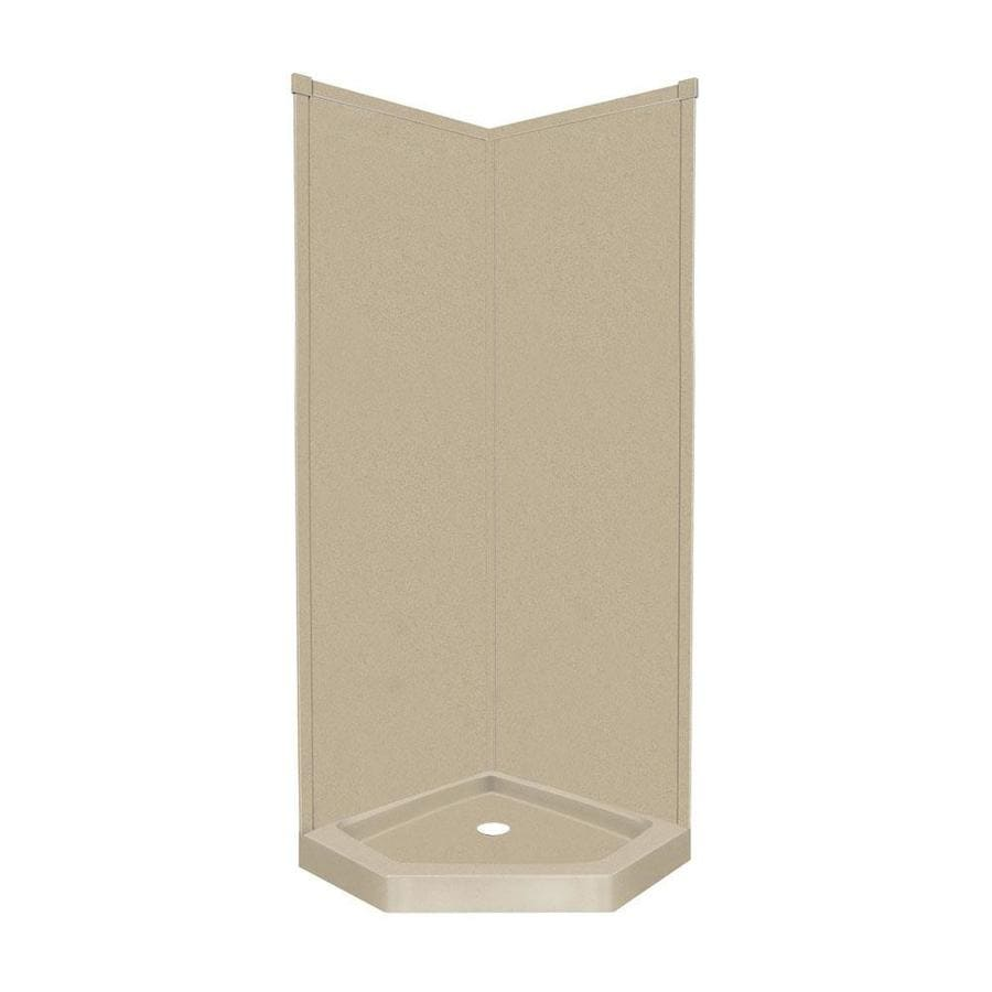 Transolid Decor Matrix Sand Wall Fiberglass/Plastic Composite Floor Neo-Angle 3-Piece Corner Shower Kit (Actual: 96-in x 42-in x 42-in)